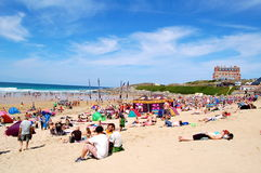Fistral Beach, Newquay. Newquay, Cornwall, UK - 8 August 2010 Royalty Free Stock Photography