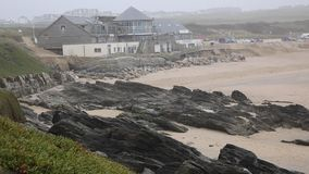 Fistral beach Newquay Cornwall after storm damage Stock Photos