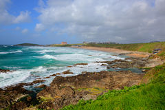 Fistral beach Newquay Cornwall uk with white waves breaking Stock Images