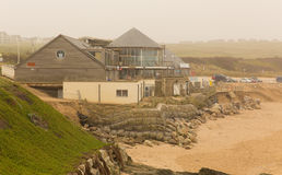 Fistral beach Newquay damage caused by storms Stock Photos
