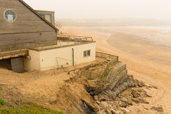 Fistral beach Newquay damage caused by storms Stock Image