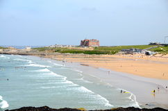 Fistral Beach, Newquay. Surfers & bodyboarders at Fistral Beach, Newquay in Cornwall Stock Image