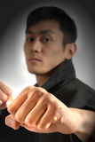 Fists coming at you. A martial artist posing with fists raised royalty free stock image