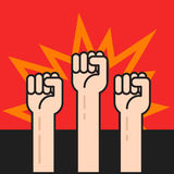 Fists hands up, protest sign, crowd of protesters, revolution war Stock Image
