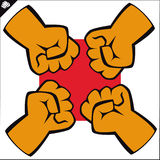 Fists set. martial arts emblem, symbol. Vector. Stock Images