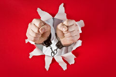 Fists in shackles Royalty Free Stock Image
