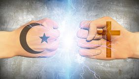Clash of religions. Fists with symbols of Christianity and Islam. Human elements were created with 3D software and are not from any actual human likenesses Stock Images