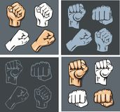 Fists - vector set. Stock illustration. Royalty Free Stock Photo