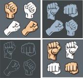 Fists - vector set. Stock illustration. Royalty Free Stock Photo