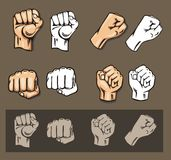 Fists - vector set. Stock illustration. Stock Photography