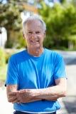 Fit, active, elderly man outdoors. Fit, active, elderly men outdoors stock image