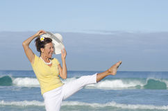 Fit active pretty senior woman outdoor background Stock Photography