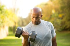 Fit African American man lifting weights royalty free stock image