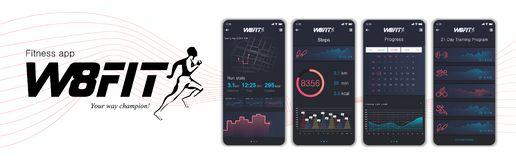 Different UI, UX, GUI screens fitnes app and flat web icons for mobile apps. Fitness application design. Mock up Mobile app. Vector template. Fitness interface stock illustration