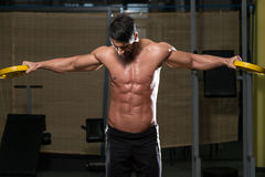Fit Athlete Doing Exercise For Shoulder Royalty Free Stock Photo