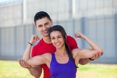 Fit athletic woman with personal trainer Royalty Free Stock Photos