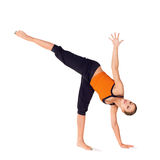 Fit Attractive Woman Practicing Yoga Exercise Stock Image