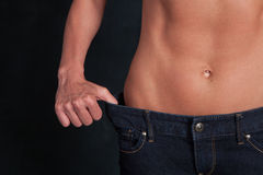 A fit attractive woman's stomach Stock Photo