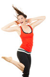 Fit beautiful woman doing aerobics Royalty Free Stock Images