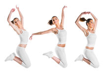 Fit, beautiful, young woman jumping, three poses Stock Photos