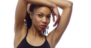 Fit black woman looking at camera Royalty Free Stock Photo