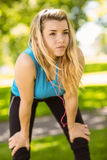 Fit blonde catching her breath Royalty Free Stock Photo