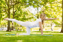 Fit blonde doing yoga in the park Stock Images