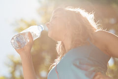 Fit blonde drinking from her water bottle Royalty Free Stock Image