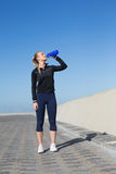 Fit blonde drinking water on the pier Royalty Free Stock Photography
