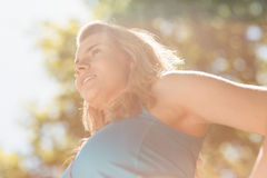 Fit blonde enjoying the sunshine Royalty Free Stock Images
