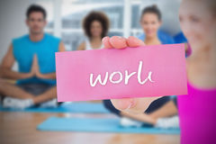 Fit blonde holding card saying work Royalty Free Stock Images
