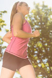 Fit blonde jogging in the park Royalty Free Stock Images