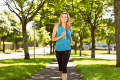 Fit blonde jogging in the park Royalty Free Stock Photo