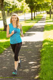 Fit blonde jogging in the park Stock Image