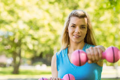 Fit blonde lifting dumbbells in the park Royalty Free Stock Images