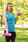 Fit blonde lifting dumbbells in the park Stock Images