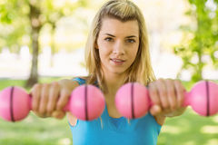 Fit blonde lifting dumbbells in the park Royalty Free Stock Photography
