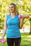 Fit blonde lifting dumbbells in the park Royalty Free Stock Image