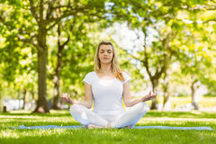 Fit blonde sitting in lotus pose in the park Stock Photography