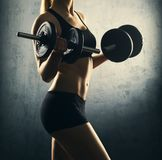Fit body of beautiful, healthy and sporty woman with a dumbbells. Royalty Free Stock Photo