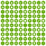 100 fit body icons hexagon green. 100 fit body icons set in green hexagon isolated vector illustration stock illustration