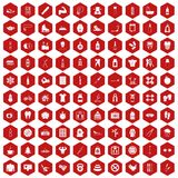 100 fit body icons hexagon red. 100 fit body icons set in red hexagon isolated vector illustration stock illustration