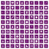 100 fit body icons set grunge purple. 100 fit body icons set in grunge style purple color isolated on white background vector illustration Vector Illustration