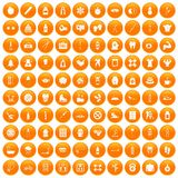 100 fit body icons set orange. 100 fit body icons set in orange circle isolated on white vector illustration vector illustration