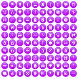100 fit body icons set purple. 100 fit body icons set in purple circle isolated on white vector illustration royalty free illustration