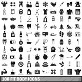 100 fit body icons set, simple style. 100 fit body icons set in simple style for any design vector illustration Royalty Free Illustration