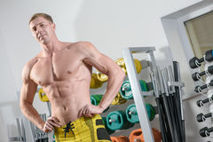 Fit bodybuilder posing in gym Stock Image