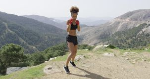 Fit boxing woman looking aggressive stock footage