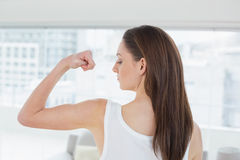Fit brown haired woman flexing muscle in fitness studio. Rear view of a fit brown haired woman flexing muscle in a bright fitness studio Stock Photography
