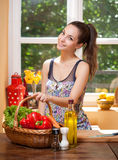 Fit brunette beauty and healthy food. Stock Images